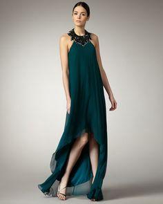 cf6737c6d9 Aidan by Aidan Mattox Beaded High-Low Halter Gown. Flowy GownHalter  GownSilk DressAidan MattoxLast CallMob DressesHigh LowNeiman MarcusEvening  Gowns