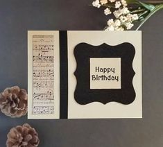 Music lover birthday card in black and ivory with a nod to Victorian style #macabresophisticate #birthdaycard #musiclover