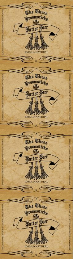 The Three Broomsticks Butter Beer Label Harry Potter Props, Harry Potter Printables, Harry Potter Wizard, Harry Potter Halloween, Harry Potter Decor, Harry Potter Christmas, Harry Potter Birthday, Harry Potter Movies, Harry Potter Hogwarts