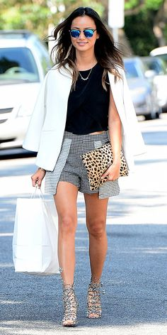 Jamie Chung knows how to accessorize with mirrored sunglasses and a leopard print clutch.