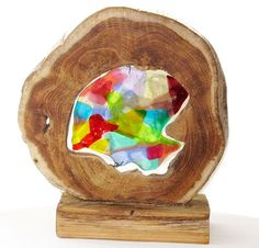 Exclusive glass art combined with wood. Colorful glass art for home decoration. Fused glass art object from our own glass studio. door Glashangers op Etsy