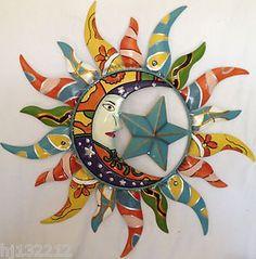 Colorfully+Painted++Moon+Star+u0026+Sun+Celestial+Decorative & Sun and Moon Metal Wall Art Multi Metallic | Moon | Pinterest ...