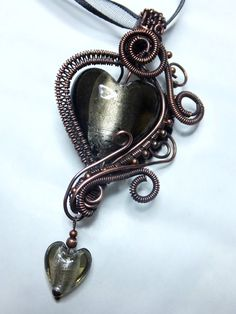 Copper Wire-wrapped Gothic Pendant w/ by PoltergeistJewellery