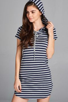 Basic StretchKnit Striped Tunic Mini Dress with Hood. Part of our Must Have Basics Collection! 95% Rayon/5% Spandex Short Sleeve Fabric Has Stretch 3Color Opt
