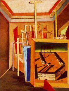 Giorgio de Chirico (1888 - 1978)   Metaphysical Art   Metaphysical Interior of studio - 1948