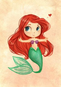 ~Inspired from Ariel Disney~ I do Not own this or any credit. Goth Disney, Ariel Disney, Disney Girls, Mermaid Disney, Baby Mermaid, Disney Babys, Baby Disney, Baby Ariel, Chibi