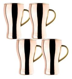 Old Dutch International, Ltd. Soda Fountain Style Moscow Mule Mugs, Set Of 4 - Copper - One Size Moscow Mule Drink, Copper Moscow Mule Mugs, Popular Mixed Drinks, Solid Copper Mugs, Outdoor Drinkware, Star Wars, Copper Material, Soda Fountain, Mugs For Sale