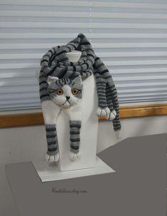 Tabby Gray Cat Scarf Knitting Scarf Gray Scarf Cowl Scarf Long