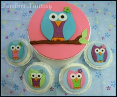 Owl Cupcake Toppers by FondantFantasy on Etsy, $20.00