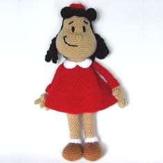 Crochet Little Lulu, the funny comic and animated series character. Crochet Dolls Free Patterns, Amigurumi Patterns, Amigurumi Doll, Crochet Animals, Crochet Toys, Free Crochet, Lucky Luke Comics, Crochet Disney, Soft Dolls