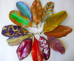 1. Press leaves 2. Paint leaves 3. Glue on canvas 4. paint background 5. frame :) I'm gonna try it this way.