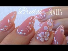 BRIDAL NAILS ❤️ Mm.. So SWEET and CUTE 3D flowers Step by Step Tutorial  at home  for - YouTube
