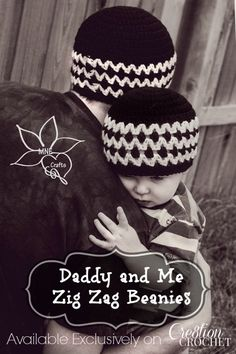 Daddy and Me Zig Zag Beanies FREE crochet pattern in two sizes
