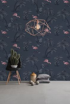 Flamingo Lake wallpaper design by Albany.