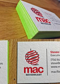 Mac ReviewCast Business Cards Like the emboss and colored edges