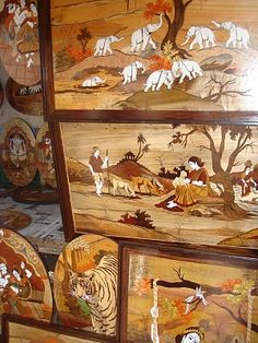 Wood carving, Marquetry