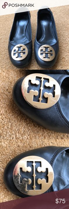 "Tory Burch leather stacked heel pumps. Tory Burch stacked heel pump. Some scratches on logo emblems 2"" heel. Elastic back for secure fit. Rubber sole. Tory Burch Shoes Heels"