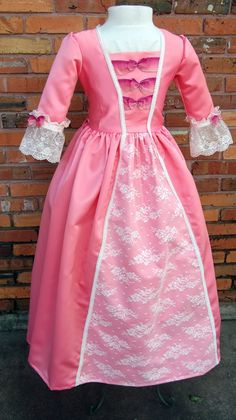 Colonial costume, Colonial dress, Elizabeth colonial ball gown, Colonial costume, American girl dress for girls. American Girl Outfits, American Girl Dress, Diy Girls Costumes, Up Costumes, Costume Ideas, Halloween Costumes, Girl Doll Clothes, Ball Gowns, Dress Up