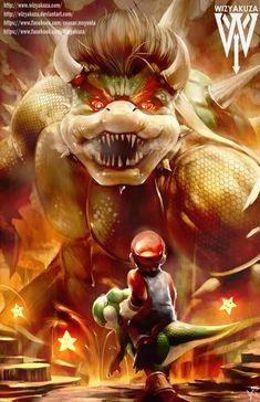 Mario and Yoshi vs. Bowser - The Final Level - Super Mario Bros - 11 x 17 Digital Print Super Smash Bros, Super Mario Bros, Super Mario Brothers, Geeks, Deco Gamer, Nerd, Video Game Characters, Video Game Art, The Villain
