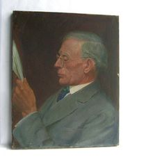1920s Original Oil Painting. Man Reading Newspaper By James Edwin McBurney