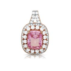 Sterling silver pendant with lab grown pink stone and simulated diamonds by swarovski.  ZP-0260PK