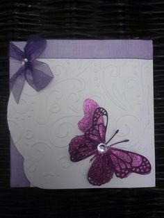Memory Box - Die - Lunette Butterfly SET in white embossed card stock Darcie emboosing folder with Purple glitter card stock. Any occasion card.