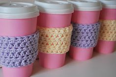 Quick Crochet Coffee Sleeve Pattern for Madeleine's Party | A Crafty House: Knitting and Crochet Patterns and Crafts