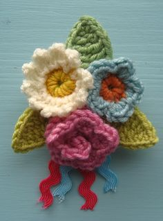 Crochet flower pattern by Attic24 in Comic Relief Crafternoon, Red Nose Day and Comic Relief craft ideas
