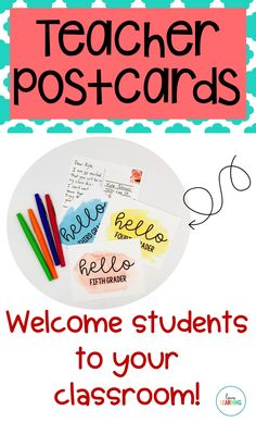 Welcome students to your classroom with these teacher postcard templates! I remember receiving a postcard in the mail from my fifth grade teacher, and it made me feel so special! They are perfect for back to school! Simply print the postcard, write a swee School Classroom, Classroom Setup, Classroom Design, Classroom Organization, Teacher Postcards, Welcome To Kindergarten, Education Templates, Welcome Students, 5th Grade Teachers