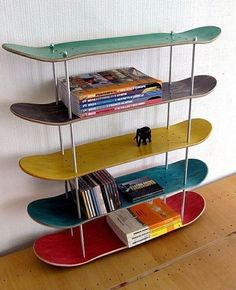 Shelves create useful storage space, but they can also transform blank walls into gorgeous displays. Whether you need something for storage or you want to add a bit to your decor, shelves are the right solution. Skateboard Shelves, Skateboard Furniture, Skateboard Room, Room Ideas Bedroom, Decor Room, Diy Home Decor, Bedroom Decor, Bedroom Storage, Bedroom Shelves