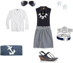 """Spring stripes and anchors"" by ederose ❤ liked on Polyvore"