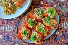 Stuffed Peppers with Cauliflower Rice -