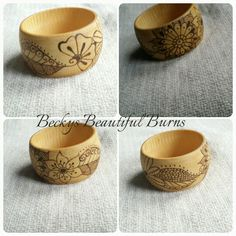 My wood burned , wooden bangles available on my etsy page , each wooden bangle is made to order and unique . Https://www.etsy.com/uk/shop/BeckysBeautifulBurns