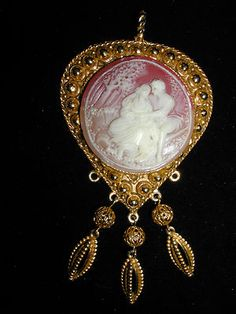 Edwardian Inspired Cameo Pendant in a Goldtone Setting Jewelry   eBay