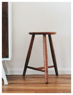 Three legged stool in reclaimed cherry.  Classic design and timeless design.