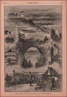 MACKINAC, MACKINAW, View of the area by Graham, antique engraving original 1882 #antique