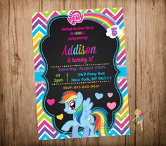 My Little Pony Birthday Invitation, Rainbow Dash Party Invitation, My Little Pony Chalkboard Invitation, Digital Printable File. Rainbow Dash Birthday, Rainbow Dash Party, My Little Pony Birthday Party, 5th Birthday Party Ideas, Unicorn Birthday, 4th Birthday, My Little Pony Invitations, Birthday Invitations, Cumple My Little Pony