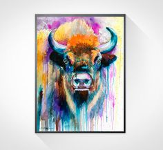 Colorful Bison watercolor painting print  animal par SlaviART