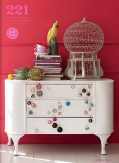 Such a fun way to update a dresser- just put loads of different colour and size knobs! Pick them up cheap from a markets etc