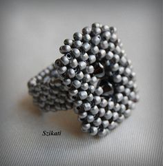 Beaded metallic grey cocktail ring, seed bead ring, unique beaded jewelry, Right Angle Weave, OOAK