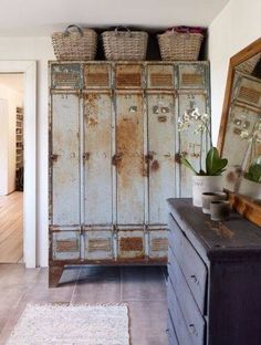 & Repurposed: Vintage Lockers Industrial fabric storage- I have an old locker in the shop I should commandeer.Industrial fabric storage- I have an old locker in the shop I should commandeer. Vintage Industrial Decor, Industrial House, Industrial Furniture, Vintage Decor, Industrial Lockers, Metal Lockers, Gym Lockers, School Lockers, Industrial Chic