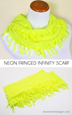 Make a neon fringed infinity scarf out of a tee shirt in about 15 minutes!
