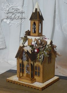mini christmas village using tim holtz village dies | Pushing The Right Buttons: 'Tis the Season at Frilly and ...