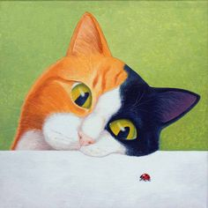 Cat with Ladybug by Vicky Mount