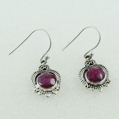 RUBY AGATE STONE ATTRACTIVE DESIGN 925 STERLING SILVER EARRINGS #SilvexImagesIndiaPvtLtd #DropDangle