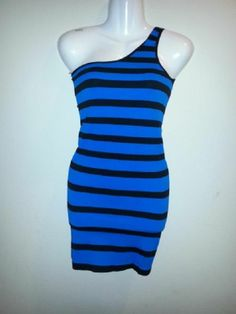 NEW WITH TAGS YITONG MINI DRESS BLUE MAXI SHOULDER CLUB WEAR SEXY ONE STRAP #Handmade #OneShoulder #Clubwear