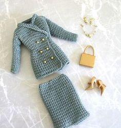 Crochet pattern (PDF) 1990s suit jacket & skirt for Silkstone Barbie doll…