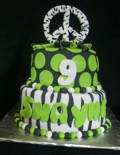 Lime green and black zebra and poke a dot peace symbol birthday cake made by Karen Shoopman with Sweet Tooth Mother and Daughter Cakes in Oneida, Tn.