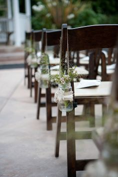 Hanging Mason Jars for the Aisle. And could be used to decorate other things