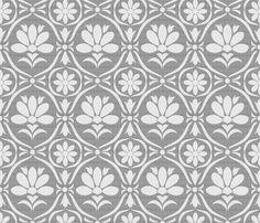 Grey Linen Flower Damask fabric by natitys on Spoonflower - custom fabric